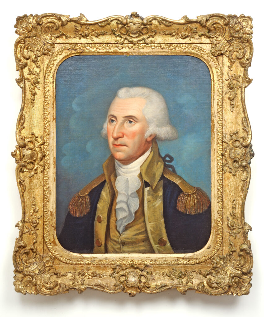 Oil portrait of George Washington in military uniform in a gilded frame