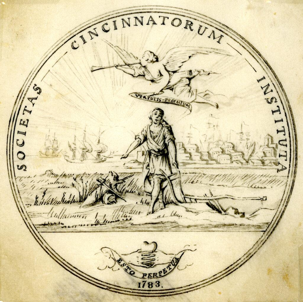 Pierre L'Enfant's drawing of the Society of the Cincinnati medal depicting Cincinnatus