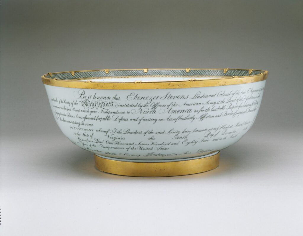 An image of a Chinese punch bowl depicting the diploma of the Society of the Cincinnati