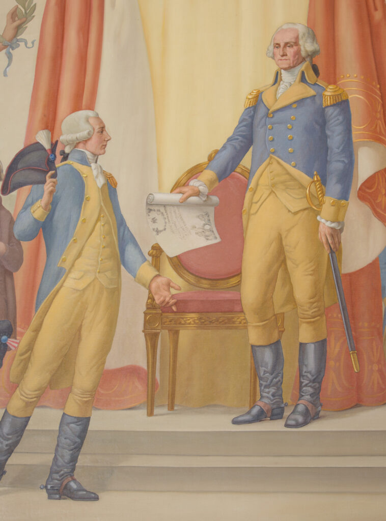 An image of George Washington, the marquis de Lafayette, and the diploma of the Society of the Cincinnati