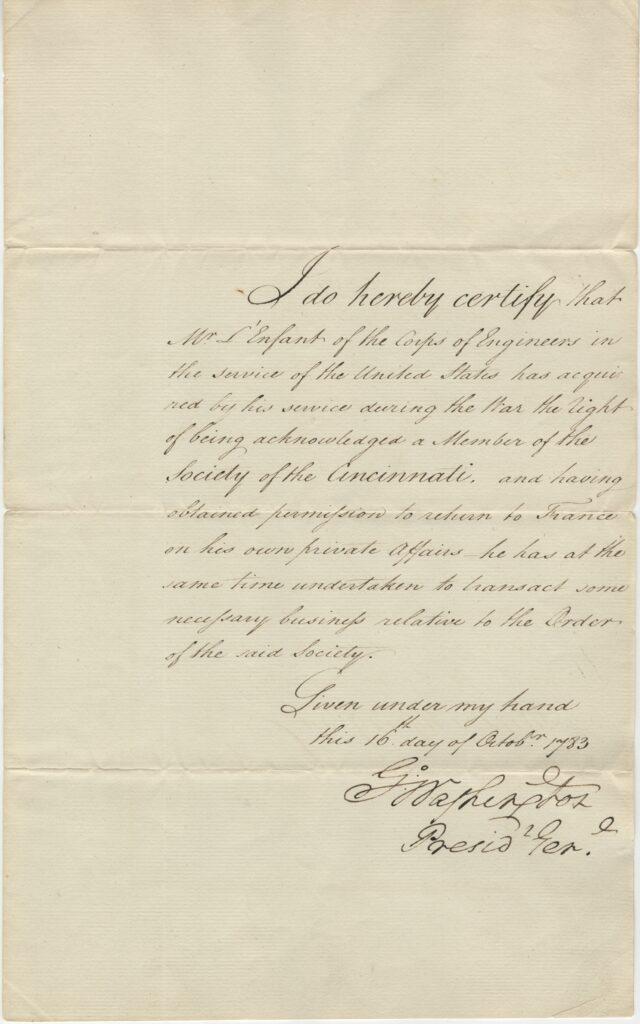 Pierre L'Enfant's membership certificate signed by George Washington