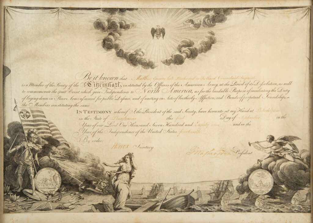 The Society of the Cincinnati diploma printed on parchment signed by George Washington and Henry Knox