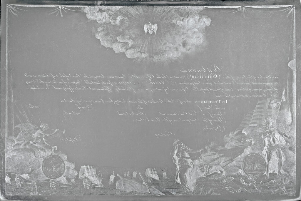 The engraved copperplate of the diploma of the Society of the Cincinnati
