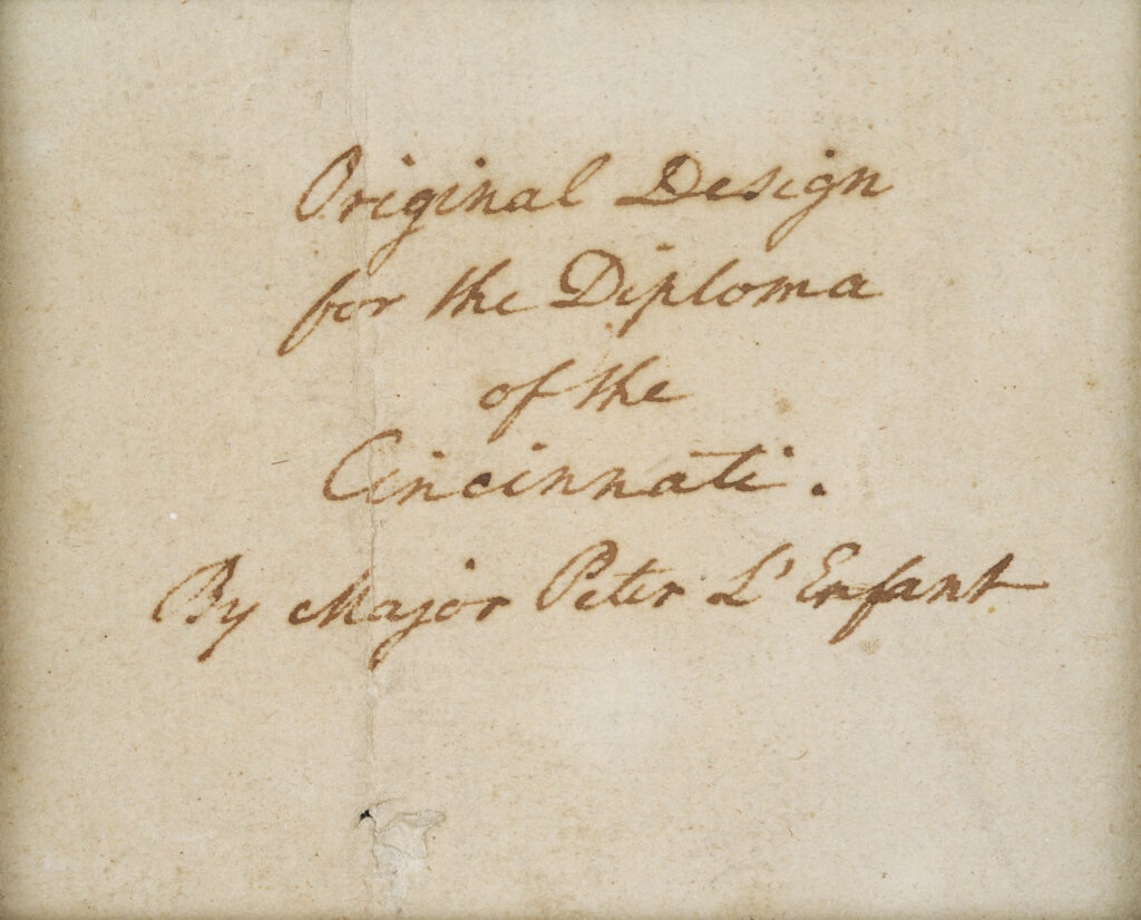 Docket on Pierre L'Enfant's diploma for the Society of the Cincinnati drawing